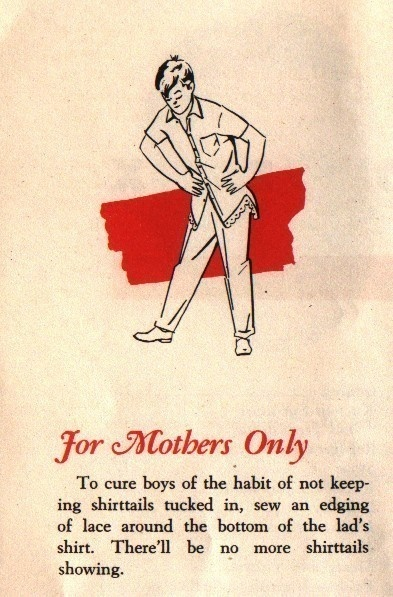 Vintage Paper Ad for Mother's Only Sewing Tip