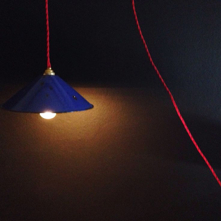 Vintage blue enamel tin light with red cable. See freerangeboy on Facebook for purchasing info.