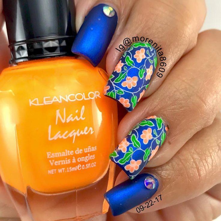 #nails #sexynails #nailstamping #nailart #geometricnails #kleancolor #bluenails