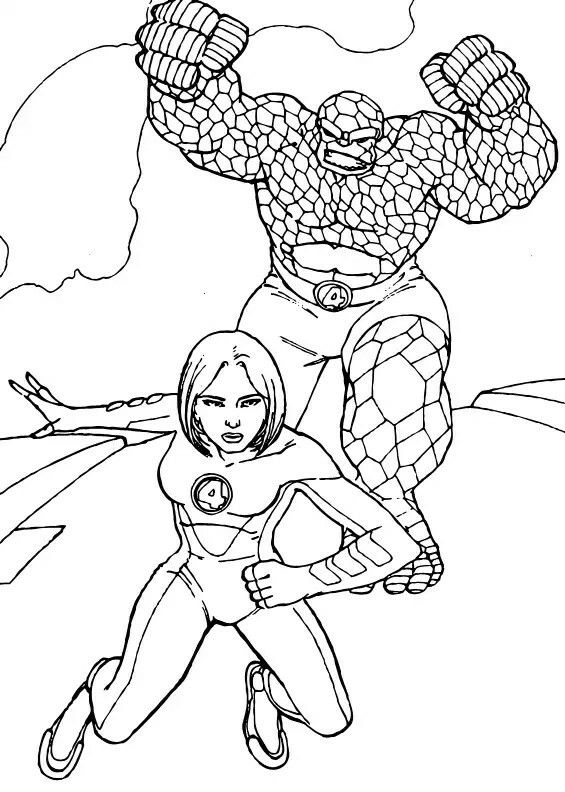 Invisible Woman And The Thing Coloring Page Fantastic Four Superheroes Are In Action To Protect Public Bring Justice Villains