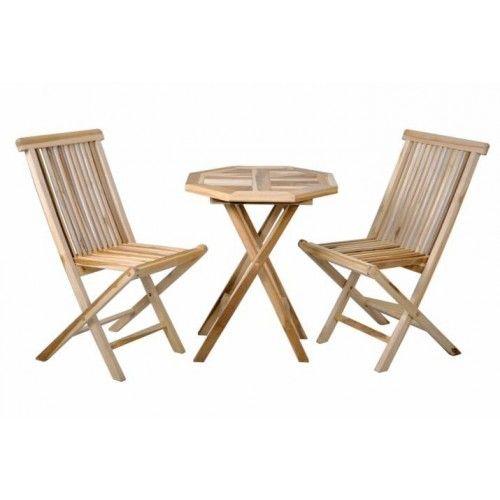 Puutarhan puusetti 2 tuolia ja pöytä, 124,95€. Kestävää aitoa tiikkiä. Ei tikkuunnu ja kestää säätä sekä vettä. Sisä tai ulkotiloihin. Koko setti taittuu kasaan pieneen tilaan! Ilmainen toimitus! #tuoli #pöytä