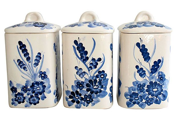 Vintage blue white ceramic canisters in the kitchen pinterest - White ceramic canisters for the kitchen ...