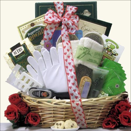 Wait on your sweetheart hand and foot with the GiftsBeyond.com  thoughtful Hand & Foot Therapy Valentine's Day Spa Gift Basket. GiftsBeyond.com has incorporated some of the most delightful spa gifts into this luxurious basket, including apple hand and body herbal scrub, a foot-shaped nail brush, bamboo loofah slippers, cotton moisturizing gloves and a compact pedicure set. For even more decadence, we pack in delicious cookies, cake and peppermint popcorn and top it off with Stash's premium g