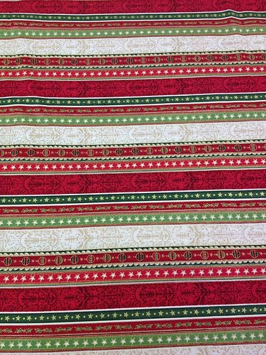 Christmas 100% Cotton Fabric - Red, Green & Cream Stripe with Baubles & Stars! £11.99 per metre! #christmas #xmas #baubles #robins #snowflakes #santa #fatherchristmas #santa #reindeer #angel #stars