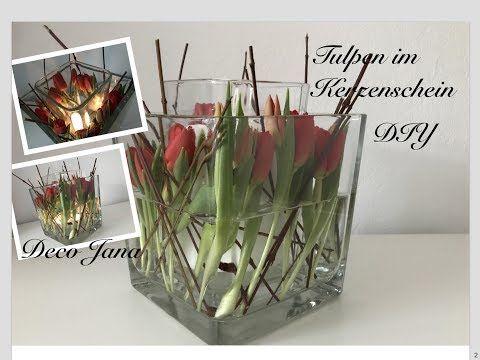 diy fr hlingsdeko tulpen im kerzenschein glas in glas. Black Bedroom Furniture Sets. Home Design Ideas