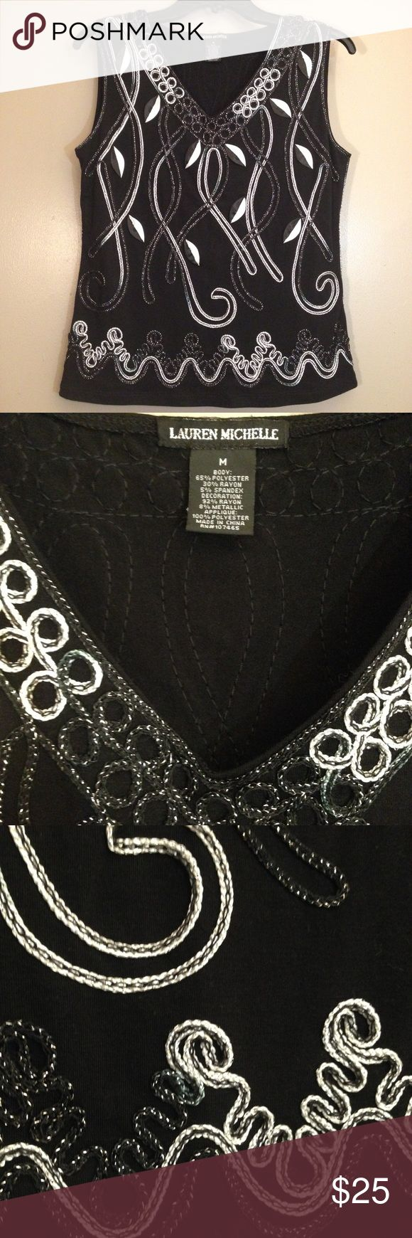 Festive, decorative vest, like new, size M A very festive, decorative vest that will spark your outfit. EUC, worn only once. Size Medium. Lauren Michelle Tops