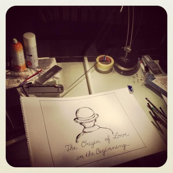 """""""Today's drawing in progress. I really like this, it makes me smile. It's another backdrop for the show"""" - via Mika's twitter July 27 2012"""