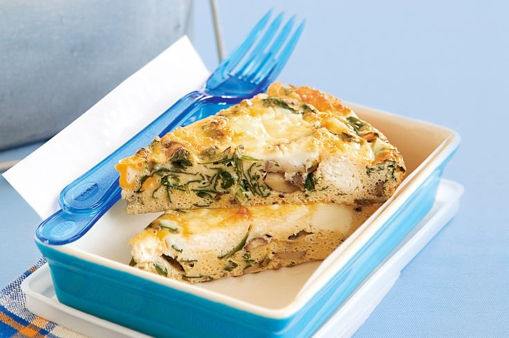 Crustless mushroom quiche Serve this quiche hot or cold, for a work lunch or a light dinner, with a crisp green salad.
