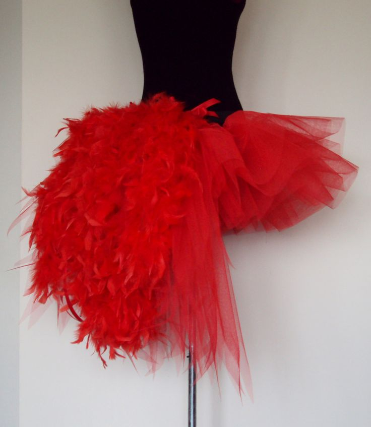 RED tutu skirt Burlesque Moulin Rouge size U.S. 4 - 10 U.K. 6 - 12  feathers. $60.00, via Etsy.
