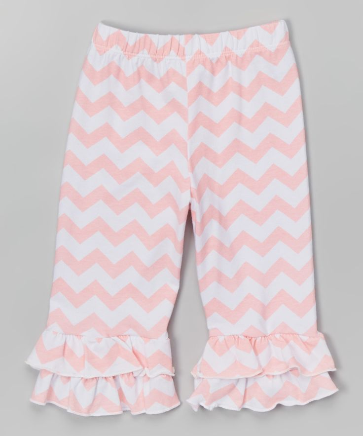 Coral Chevron Double-Ruffle Capris - Infant Toddler & Girls