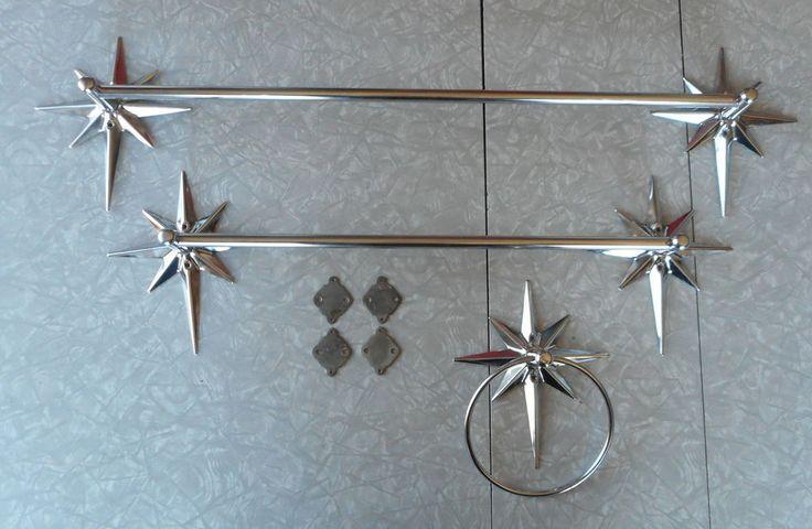 VINTAGE AUTHENTIC MID CENTURY MODERN CHROME STARBURST ATOMIC TOWEL BARS & RING