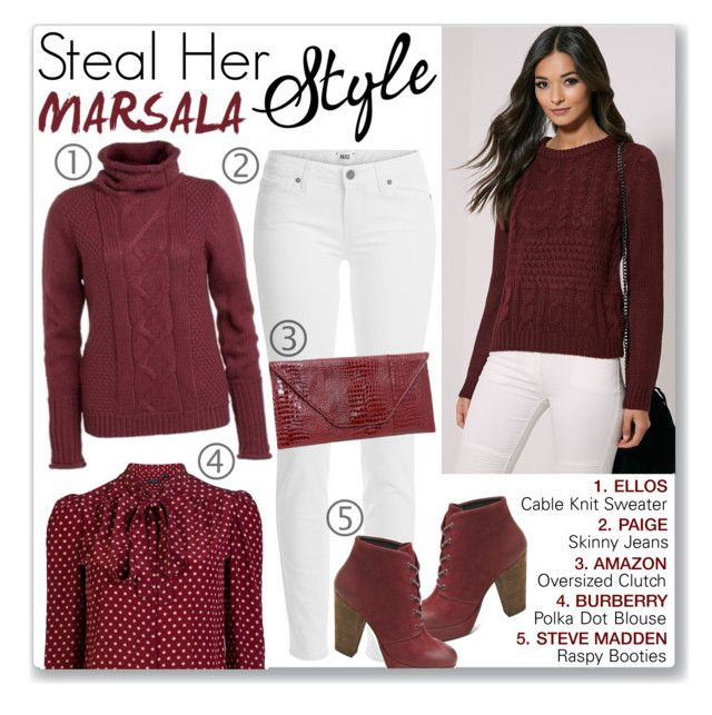 """""""Marsala in Autumn"""" by mmmartha ❤ liked on Polyvore featuring Paige Denim, Burberry and Steve Madden"""
