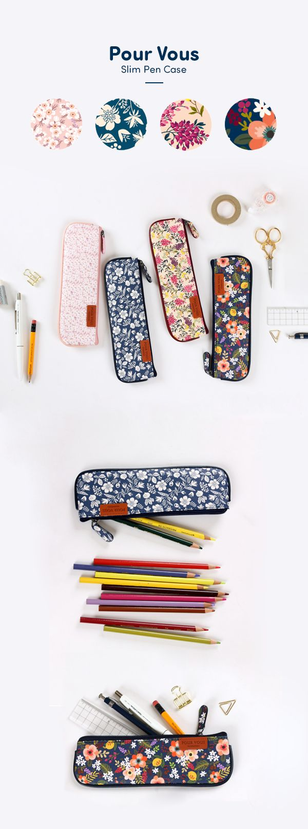 So cute! Give your favorite pens and pencils a little special treatment with this super slim Pour Vous Slim Pen Case!