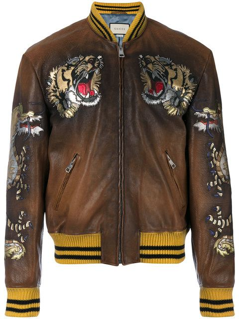 591d275376 GUCCI Leather Bomber Jacket With Intarsia in Black | Jacket and ...