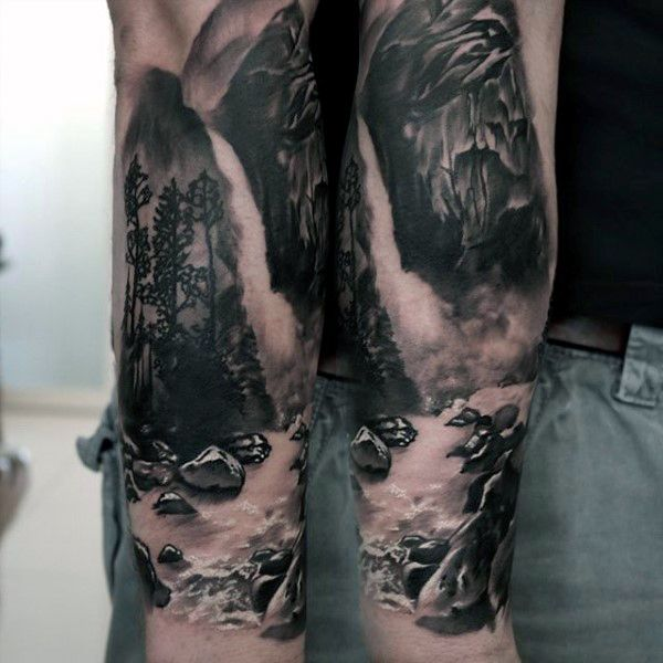 Realistic Rocks Waterfall Mens Forearm Sleeve Tattoo 3d Design
