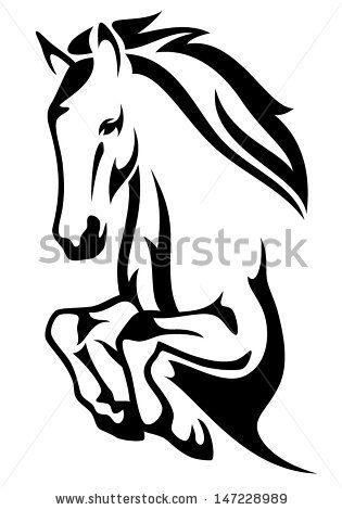 jumping horse black and white vector outline by Cattallina, via Shutterstock