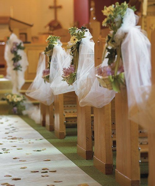 Church Pew Wedding Decoration Ideas: Draping Tulle Pew Decorations Idea