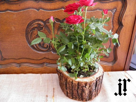 Rustic wooden decorative flower pot