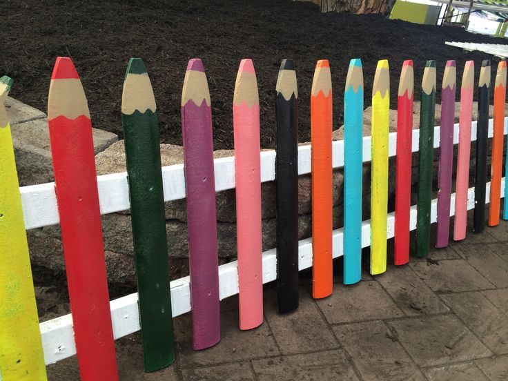 Colored pencil fence for the Children's Garden.