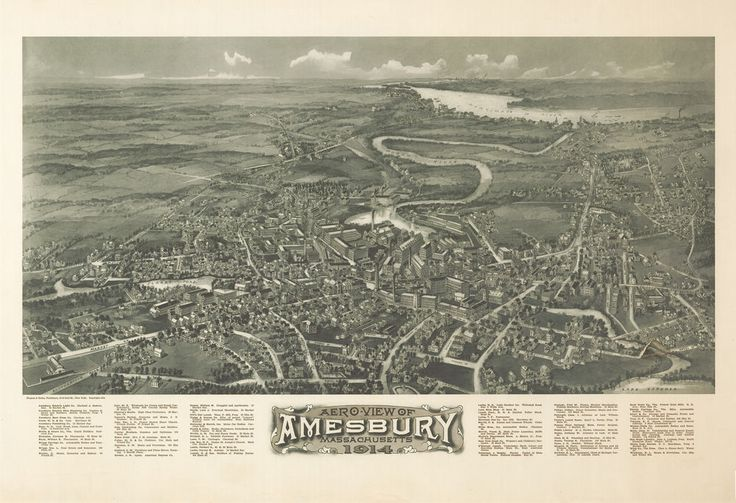 1914 Amesbury, Massachusetts, City View, antique Map, ART, Beautiful Town, 20x14