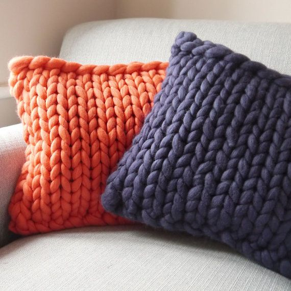 Coral chunky knit cushion limited edition by LaurenAstonDesigns