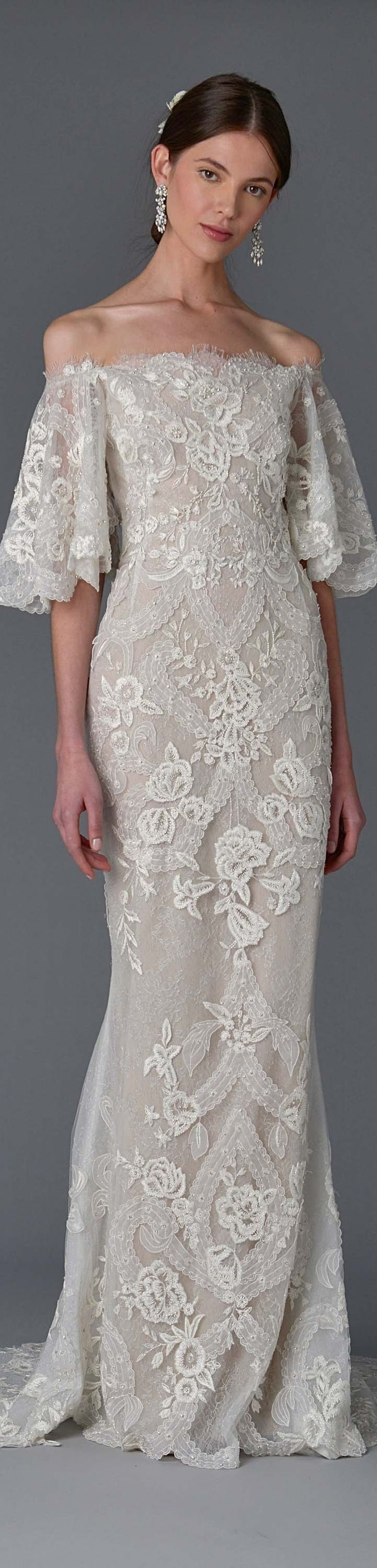 Marchesa Bridal Spring 2017...Beautiful lace for a simple silhouette. Why not recreate this within the budget & wedding theme. Contact us for suggestions.