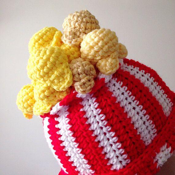 Crochet Popcorn Hat Novelty Hat Crochet Food Hat by OliviaLawsArt