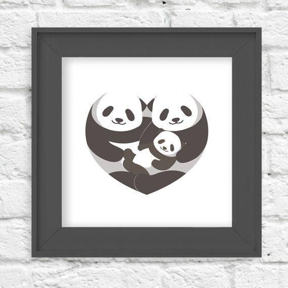 Panda  Heart of a Family  10x10  Children's Wall by LlamaCreation