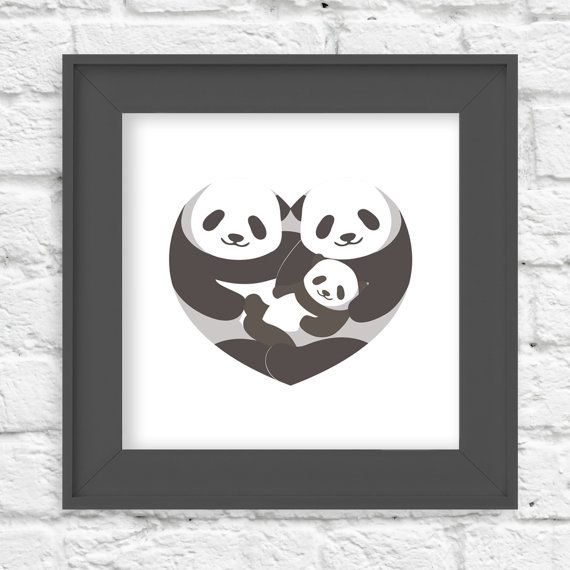 Panda  Heart of a Family  10x10  Children's Wall by LlamaCreation