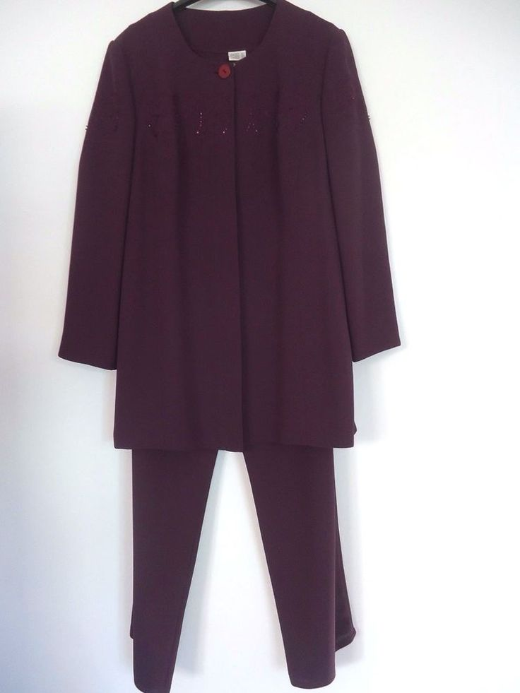 Womens Frank Usher Aubergine Purple Crepey Dressy Three Piece Trouser Suit
