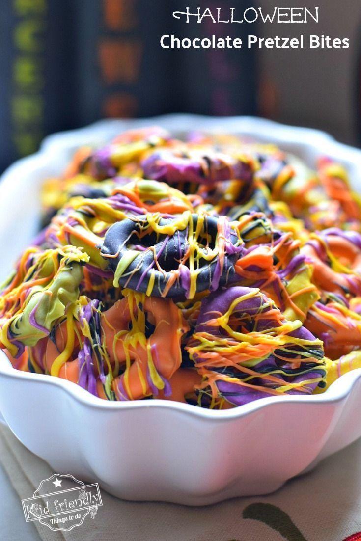 easy halloween chocolate covered pretzel bites | *fun food crafts