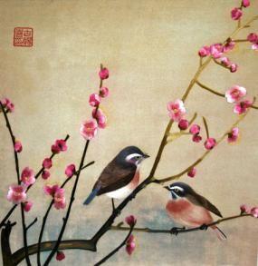 Sparrows in Spring **