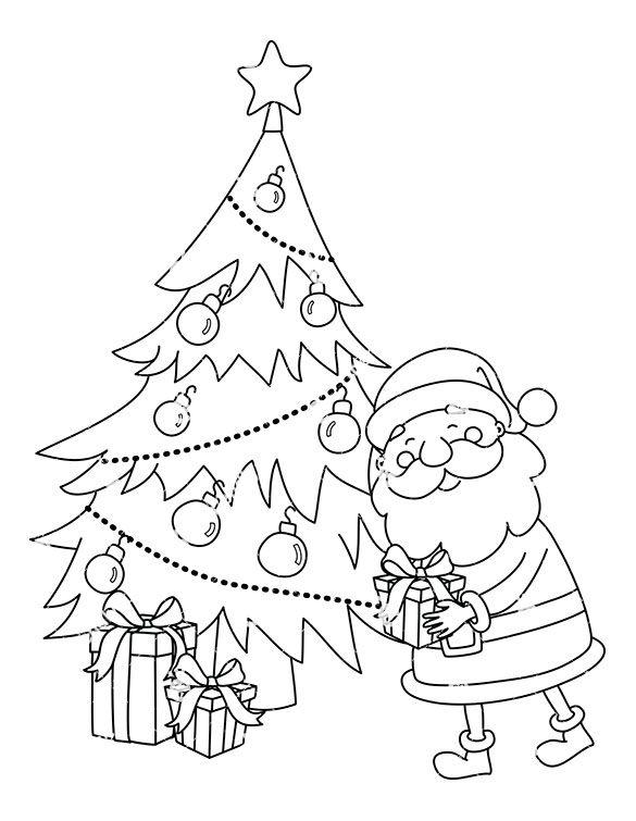 Present Outline Santa Claus Leaving A Present Under Christmas Tree Clipart Jpg Christmas Tree Clipart Cute Christmas Tree Tree Clipart