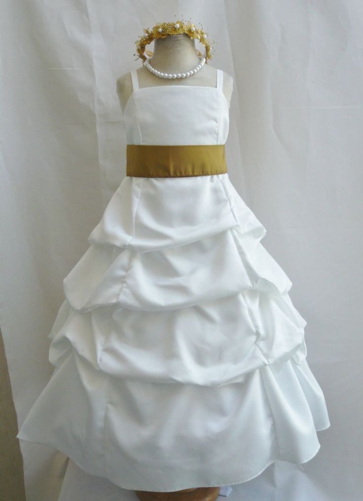 Spu Ivory Gold Wedding Party Recital Gown Pageant Flower Girl Dress