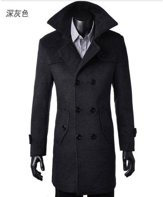 Free Shipping Winter Mens Cashmere Coat Long Wool Coat Men Double Breasted Trench Coat Mens Peacoat Coat Overcoats fashion 4XL