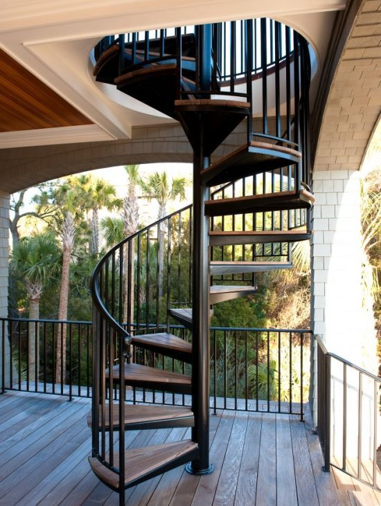 outdoor spiral staircase -  Use to get from level 2 to level 1 of deak?!