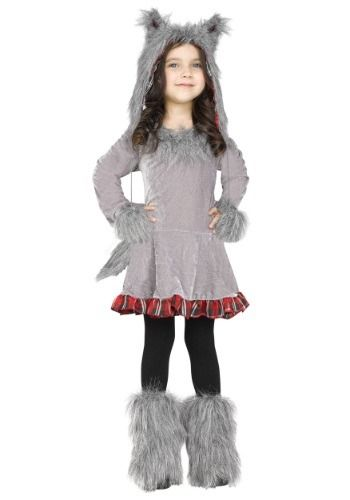 Dress your child in this cute and furry Girls Wolf Costume for toddlers. It features a furry wolf ear hat and a dress with a furry wolf tail.