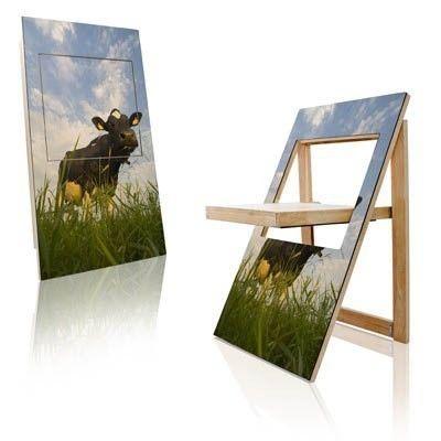 Der PicChair ist eine Kombination aus Klappstuhl und Wandgemälde  - Fototapete nach Maß
