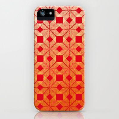 Fire iPhone & iPod Case by Gréta Thórsdóttir - $35.00 #scandinavian #snowflake #heat, #passion #red #gold #pattern #nordic