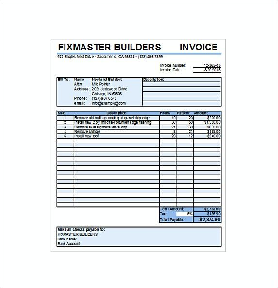 Roofing Contract Receipt Excel Free , Free Service Invoice Template Format and Writing Tips , A service invoice refers to a formal document issued for both non-professional and professional services, regardless of the field—consulting, medica...