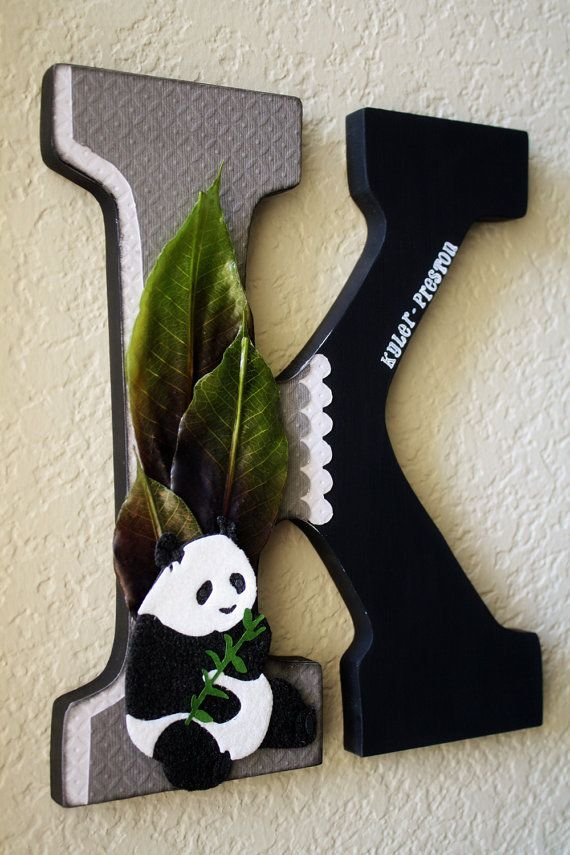 Panda Bear Nursery Wall Letter or Shelf Monogram by LolaMonkey