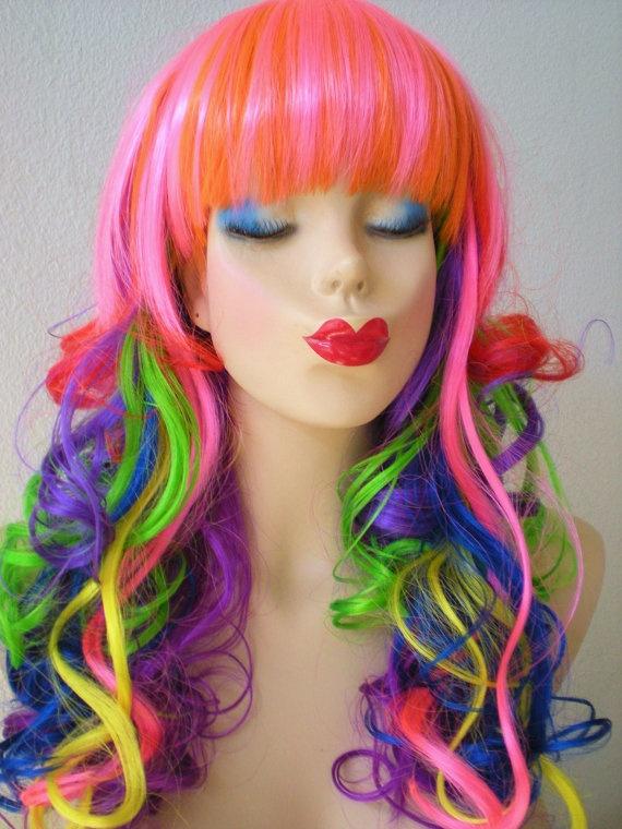 Sale Rainbow Color Wig Rainbow Color Hair Long By
