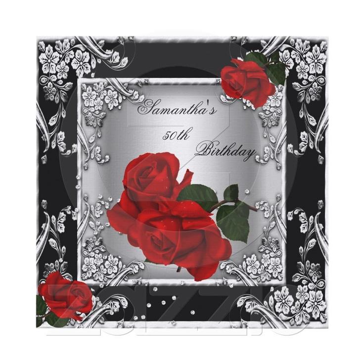 Elegant 50th Birthday Party Red Rose Silver Invitations from Zazzle.com/zizzago