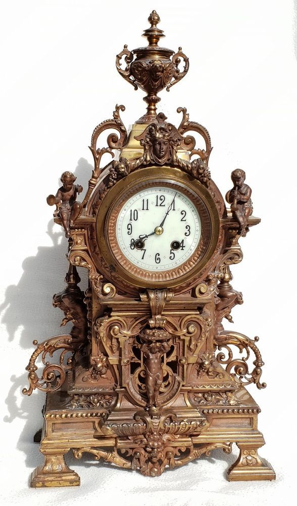 Antike Gustav Becker Kaminuhr Giesserei E G Zimmermann Hanau Prachtvolle Gustav Becker Kaminuhr Mit Sitzdenden Engel Gustav Becker U Mantel Clocks Hanau Clock