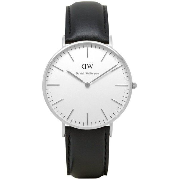 Daniel Wellington 0608DW Classic Sheffield ladies watch (195 AUD) ❤ liked on Polyvore featuring jewelry, watches, white faced watches, white dial watches, daniel wellington watches, daniel wellington and leather-strap watches