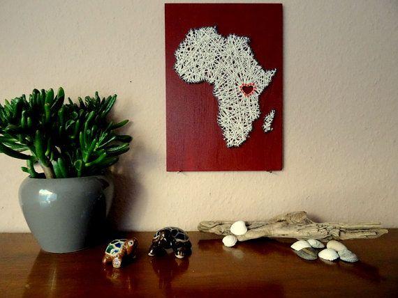 Africa Map wood and wood w/ Heart  11.8x8.3  von BeauGrandMonde