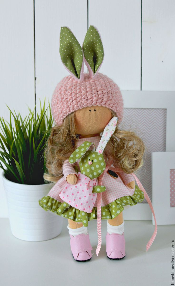 Купить Малышка зайка - кукла ручной работы, кукла интерьерная, текстильная…