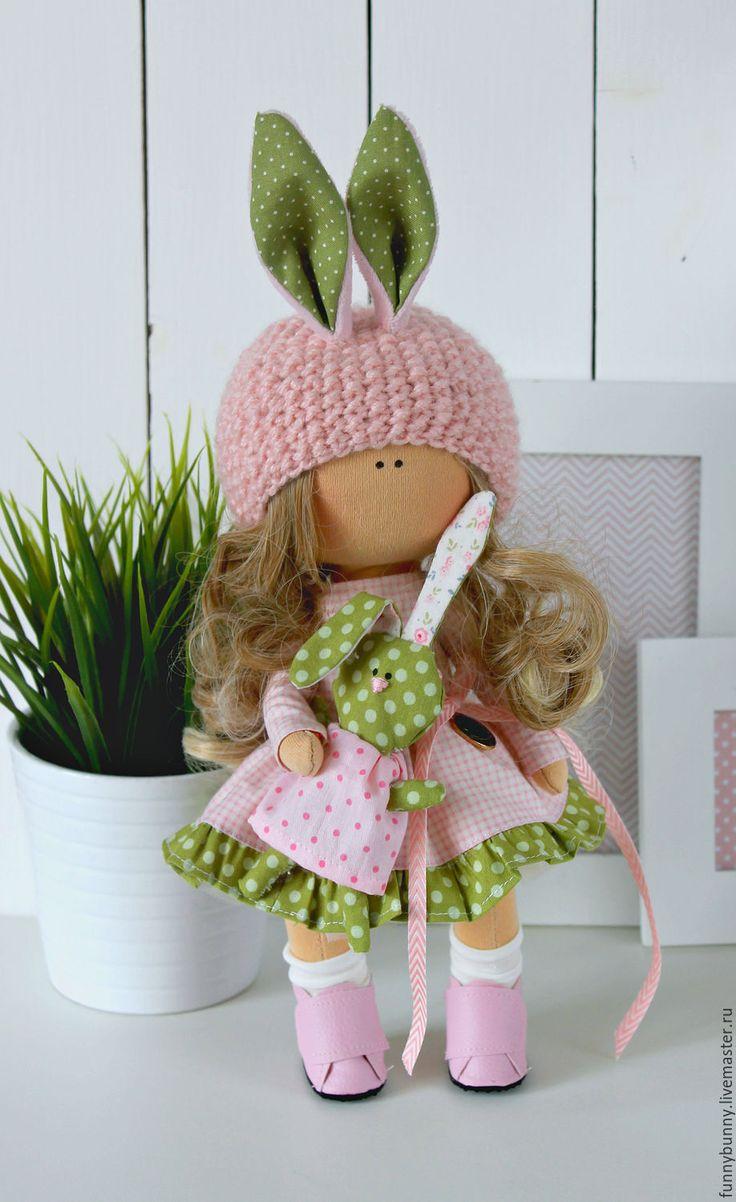 Купить Малышка зайка - кукла ручной работы, кукла интерьерная, текстильная кукла, весеннее настроение