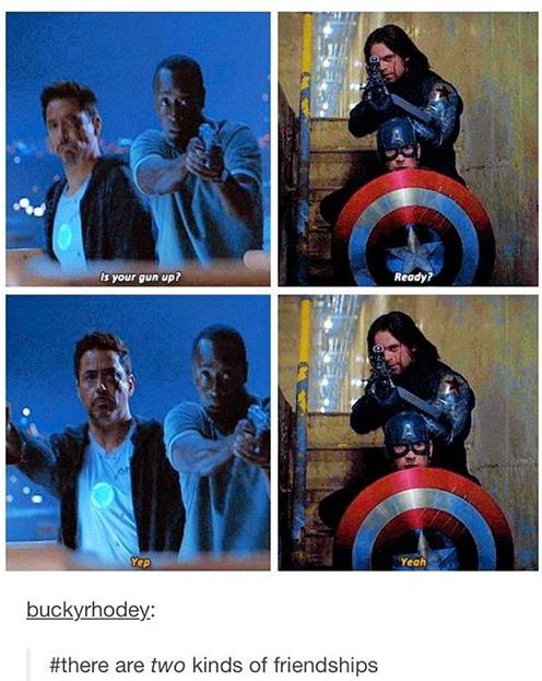 There are two kinds of friendships {Bucky and Steve vs Tony and Rhodes}