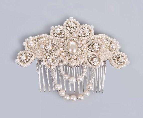 Peineta para novia - Lucrezia pearl and crystal bridal comb hair jewelry vintage style ivory silver